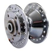 Vorderradnabe Aluminium verchromt - passend zu:> 78-83 XL, FX, FXR MIT DOPPEL Bremsscheibe