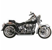 Paughco exhaust Side by Side Upswept Fishtail Black or Chrome  Fits: > 00-17 Softail