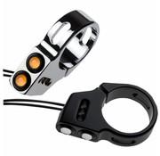 Joker Machine tenedor de montaje LED ojo de rata señales de giro negro o cromado diámetro de 49 mm tenedor