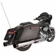 S&S Power Tune uitlaatdemper 4,5 inch Slip-On Mk45 Zwart Contrast Tracer Eindkap Chroom Body Finish - Past op:> 07-16 Touring FLH / FLT