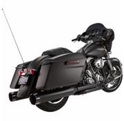 """S&S Power Tune Muffler 4.5 """"Contraste Slip-On MK45 Noir Tracer Fin Cap Jet Hot®-Fini Noir Body - Convient à:> 95-16 FLHT / FLTR / FLHR / FLHX MODÈLES"""