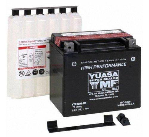 Yuasa Batterie YTX20HL-BS Past op> Softail / Dyna van 1991-2019; FXS; FLS; FXSB / SE; XL Sportster 1997-2003