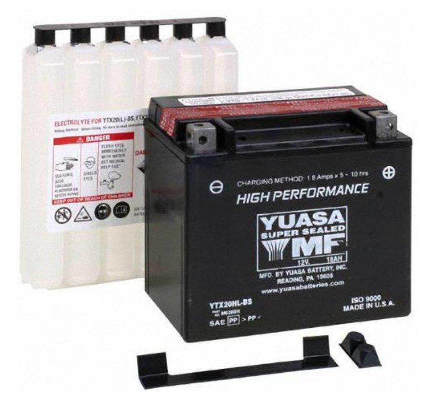 Batterie YTX20HL-BS Past op> Softail / Dyna van 1991-2019; FXS; FLS; FXSB / SE; XL Sportster 1997-2003