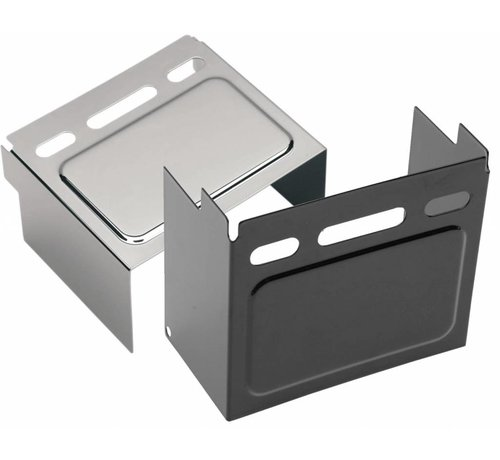 TC-Choppers batterijhoes Zwart of Chroom - Past op:> 91-96 FXD / FXDWG 85 FXE 82-99 XL verhoogd paneel (kijkvenster); repl. OEM # 66347-91