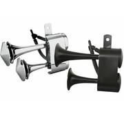 """Horn Air Schwarz oder Chrom - Passend für:> die meisten H-D-Modelle mit der linken Seite """"zwischen den Zylindern"""" OEM Halterung"""