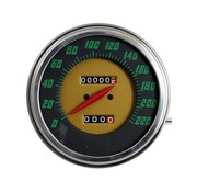 TC-Choppers speedo Green face 1948-1961 Style in KM/h: Front Wheel driven