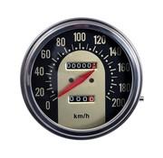 velocímetros, Negro / oro de la cara del estilo de 1962-1967 en km / h: Rueda delantera conducida