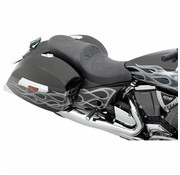 seat  Seat 2-Up Predator Rear Stitched Solar-Reflective Leather Black - Cross Country/​Tour Cross Roads HardBall 10-16