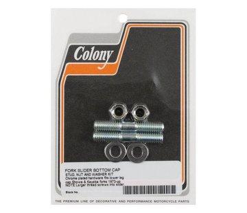 Colony front fork suspension axle cap slider stud set