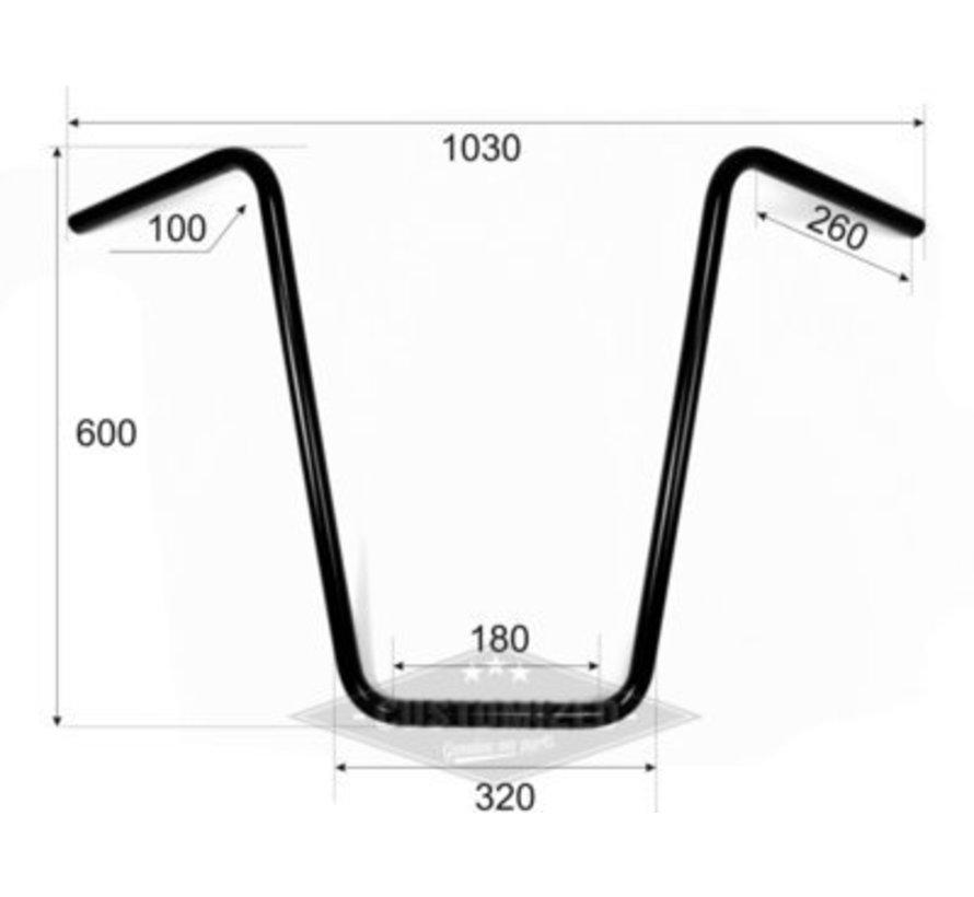 """1 """"Stuur Ape Hanger hoog 23 inch inch (60 cm), zwart of chroom"""