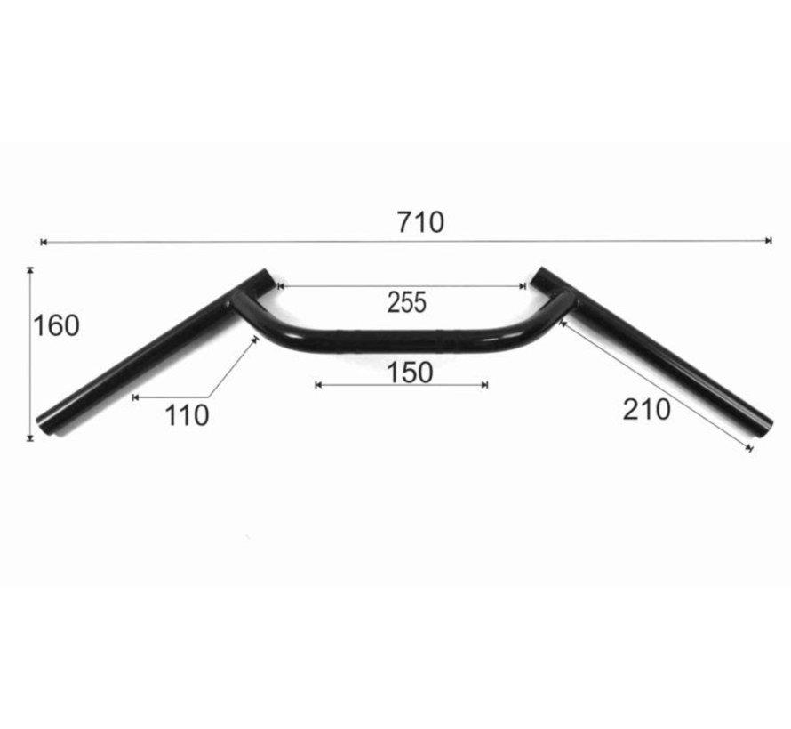 """1 """"Stuur M-Style stuur, 70 cm breed Zwart of Chroom"""