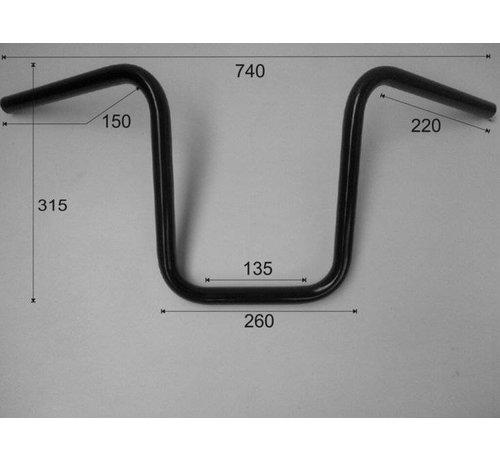 """Vandema products 1 """"Stuur Smalle Apenhanger laag 12 inch (30 cm), zwart of chroom"""