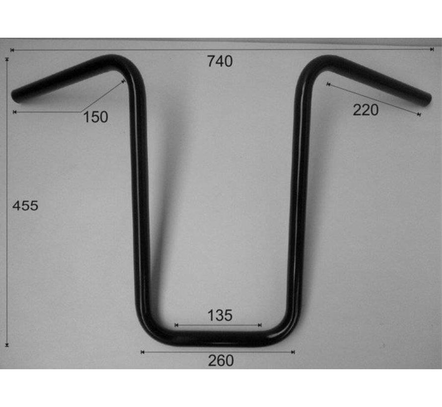 """1 """"Stuur Narrow Ape Hanger hoog 17 inch (44 cm), zwart of chroom"""