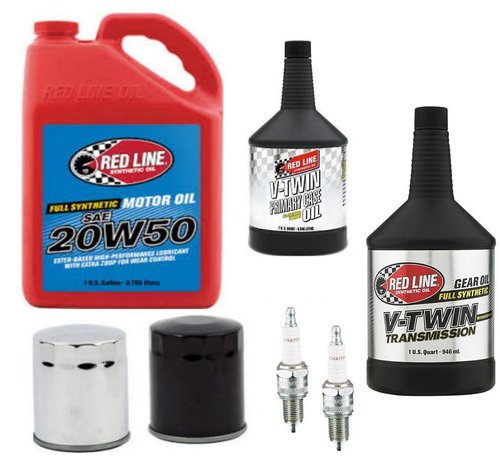 Red Line Synthetic oil Harley Davidson Onderhoudsmotor Primaire transmissie Red-Line olieservicekit met chroom- of zwarte oliefilter 84-99 Big Twin Softail - Dyna - Touring FLH / FLT