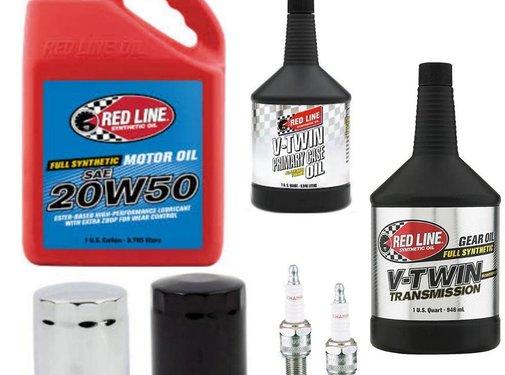 Red Line Synthetic oil Wartung Hauptgetriebe Red-Line Ölservicekit mit Chrom oder schwarzem Ölfilter 84-99 Big Twin Softail - Dyna - Touring FLH / FLT