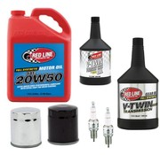 Red Line Synthetic oil Maintenance Engine Primary Transmission Red-Line Oil Service Kit with Chrome or black oil filter, 99-17 Bigtwin, Softail, Dyna, Touring
