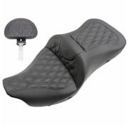 Saddlemen 2-UP verwarmde zetel road sofa lederen zadel gel met of zonder rugleuning van de bestuurder Geschikt voor: > 08‐21 FLHT/FLHR/FLTR/FLTRU/FLTRK/FLTRX/FLHX