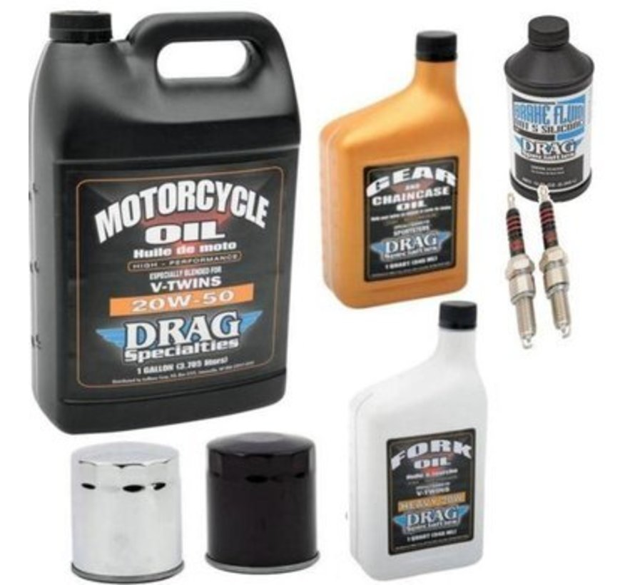 Drag Specialities  Complete Service Kit with spark plugs Engine Drive Train fork Oil Brake Fluid for 1984-2017 Sportster XL