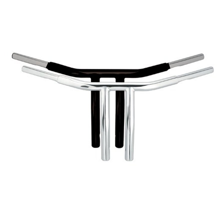 CHUBBY low profile drag bar, 10inch risers, (6 inch end  rise)  Black or Chrome