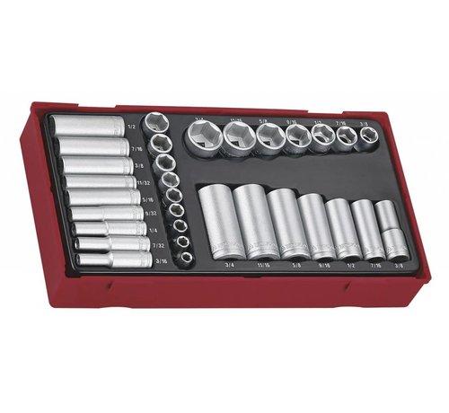 """Teng Tools Teng Tools TTAF32 32-teiliges 1/4 """"& 3/8"""" Laufwerk 6-Punkt-Standard & Deep-AF-Buchsen-Set - USA-Größen"""