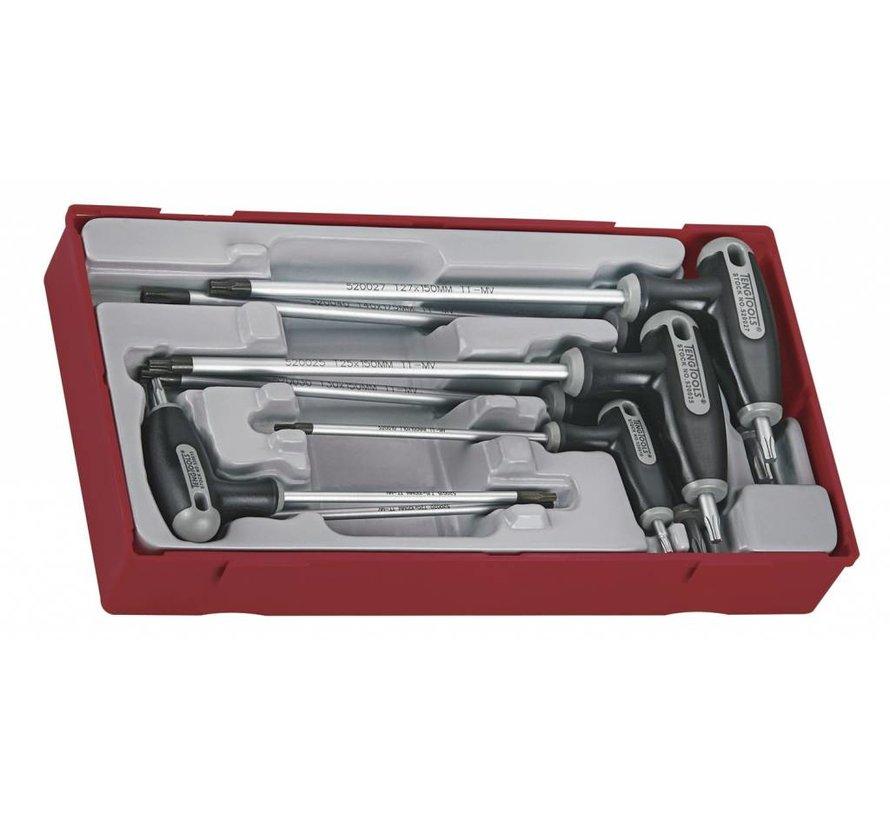 Torxset with T-hendel Tc-tray 10 till 40, 7pcs