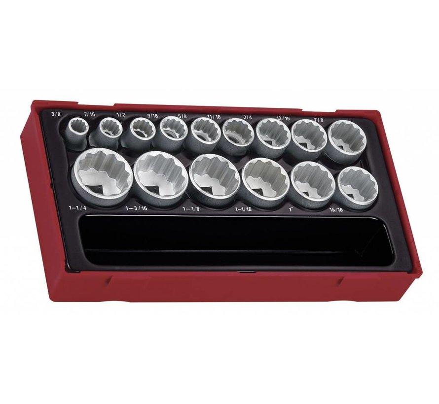 Teng Tools TT1215AF 15-teiliges 1/2-Zoll-AF-Steckdosen-Set - US-Größe