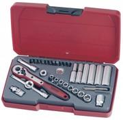 """Teng Tools T1435AF Juego de dados de AF de unidad de 1/4 """"de 35 piezas - tamaño EE.UU."""