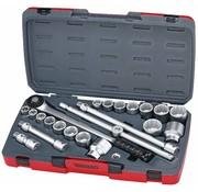 """Teng Tools Jeu de douilles d'entraînement T3422S 22 pièces 3/4 """"- Tailles américaines et métriques"""