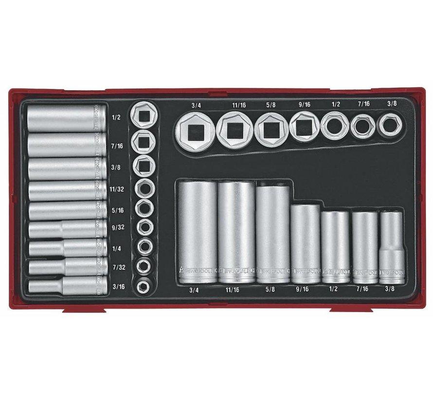 """Teng Tools TTAF32 32-teiliges 1/4 """"& 3/8"""" Laufwerk 6-Punkt-Standard & Deep-AF-Buchsen-Set - USA-Größen"""