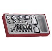 Teng Tools TTADP17 17-delige gecombineerde socket en bit adapterset met aandrijving
