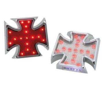 Rücklicht LED Billet Malteser Style Chrome