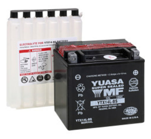 Yuasa AGM Onderhoudsvrije batterij YTX14L-BS, past op XL Sportster 883/1200 2004-2018