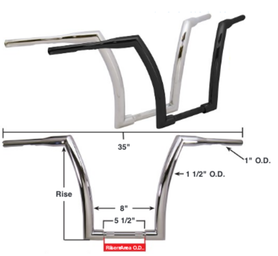 """Handlebar with 16"""" Rise and 1.5 inch outside diameter - Chrome or black"""