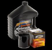 Spectro Kit de servicio del aceite de motor con cromo o el filtro de aceite negro, para Sportster 1984-2014 y 1984-1999 Big Twin Evolution