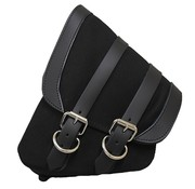 La Rosa saddlebag Black Canvas with Black Leather for Softail