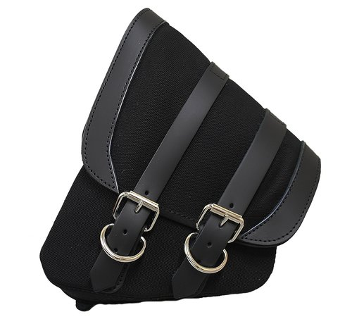 La Rosa saddlebag Black Canvas with Black Leather