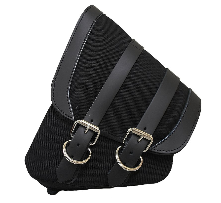 saddlebag Black Canvas with Black Leather