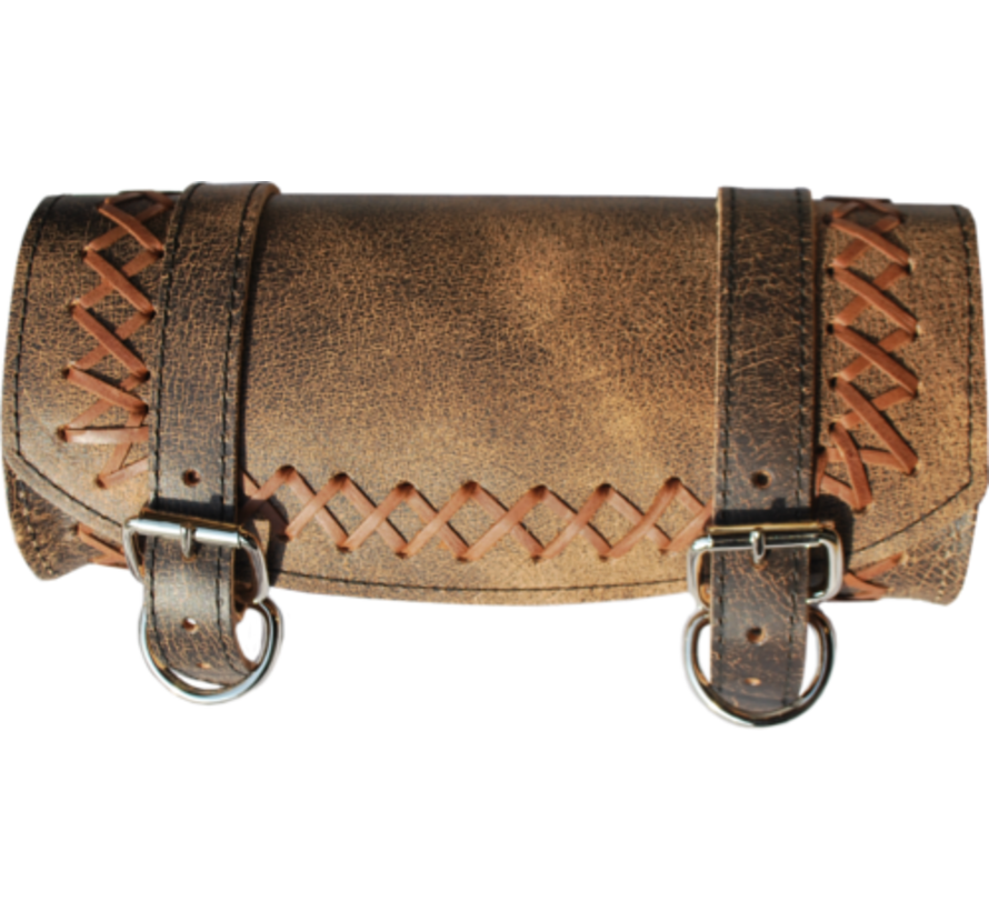 Front Forks Tool Bag Rustic Brown Cross Laced