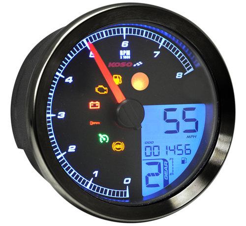 Koso Indicateur de vitesse / tachymètre pour 04‑13 Dyna, 04‑13 XL Sportster