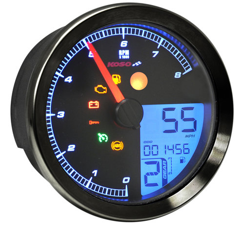 Koso Indicateur de vitesse / tachymètre pour 11-19 Softail, 12-17 Dyna, 14-19 XL Sportster