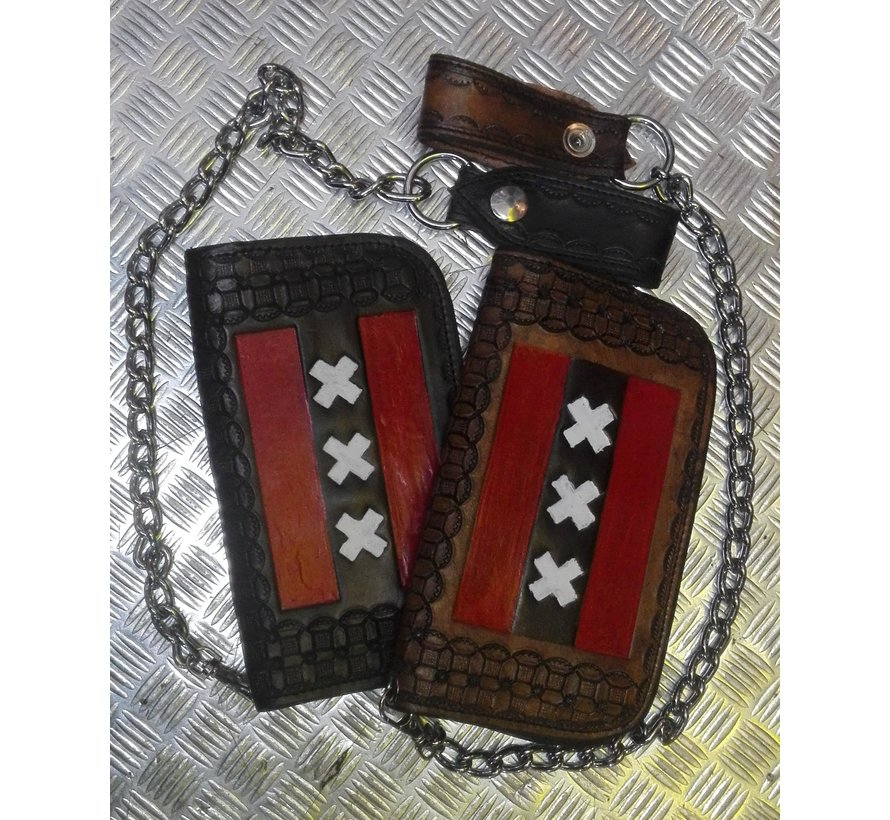 Heavy Black or Brown Leather Handmade Biker Wallet with Chain