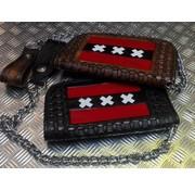 Zware zwart of bruin lederen handgemaakte Biker portemonnee met ketting