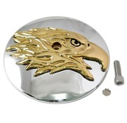 Wyatt Gatling air cleaner Round Eagle Cover - Gold  Fits: > 2000-2015 Softail, 1999-2007 Dyna and 1999-2013 Touring