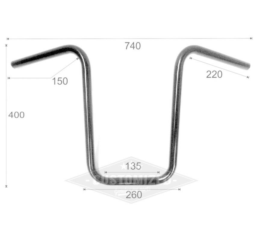 "1 ""Stuur Narrow Ape Hanger medium 15 inch (38 cm), zwart of chroom"