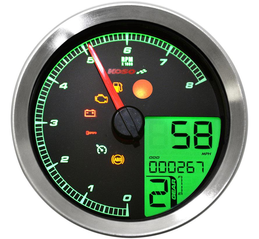 Snelheidsmeter / toerenteller past op 11-19 Softail, 12-17 Dyna, 14-19 XL Sportster