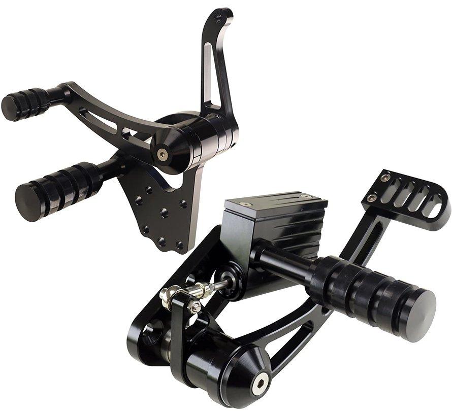 TC-Choppers Controls billet forward control zwart of gepolijst voor Softail 2000-2006