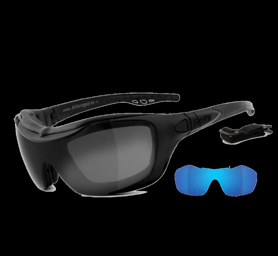 Biker Sonnenbrille Bandit 2 - Rauch grandios, laserblau & klar