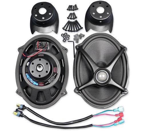 J&M Audio Harley Davidson Rokker luidsprekersets, Past op:> Zadeltasdeksels op de arm op 06-18 FLHT / FLHX / FLTR-modellen