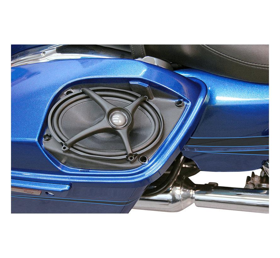 Harley Davidson Rokker luidsprekersets, Past op:> Zadeltasdeksels op de arm op 06-18 FLHT / FLHX / FLTR-modellen
