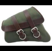 La Rosa Canvas Satteltasche auf der linken Seite - Army Green mit braunen Trägern für Sportster 04-20